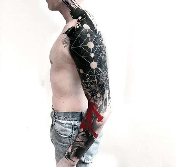 Abstract Full Circle Sleeve Mens Tattoo Design Inspiration