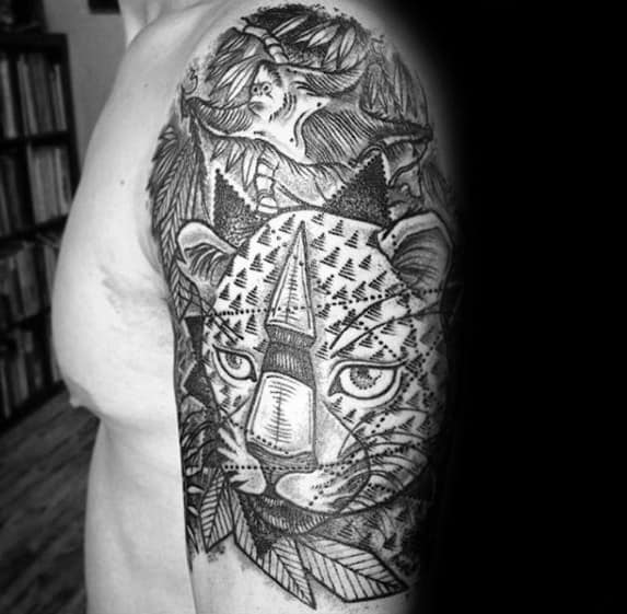 Abstract Geometric Cheetah Half Sleeve Tattoos For Men