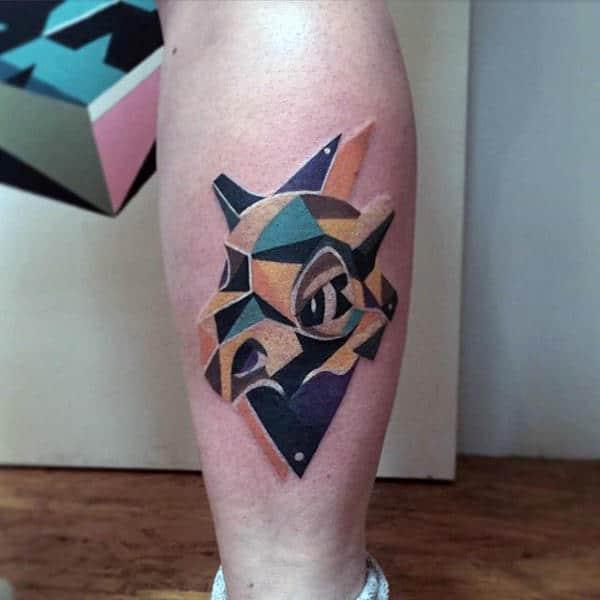 Abstract Geometric Mens Pokemon Leg Tattoo Designs