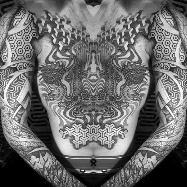 Abstract Geometric Pattern Great Male Tattoo Ideas On Chest