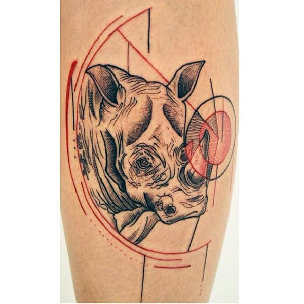 Abstract Geometric Rhino Tattoos For Guys