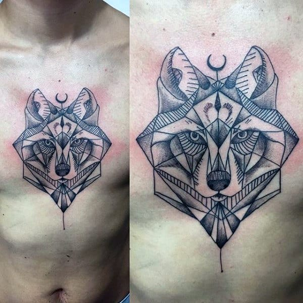 Abstract Geometric Wolf Male Chest Tattoos