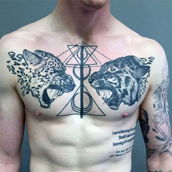 Abstract Geomtric Tiger And Jaguar Mens Pointillism Tattoo On Chest