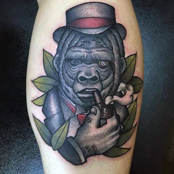 Abstract Gorilla With Top Hat And Smoking Pipe Tattoos For Men