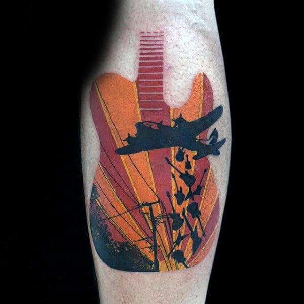 Abstract Guitar With Bomber Plane Air Force Mens Leg Calf Tattoos