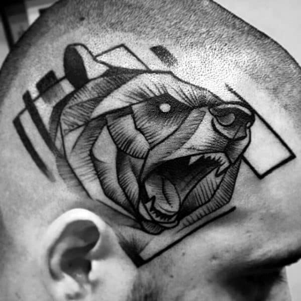 Abstract Guys Bear Tattoo On Head