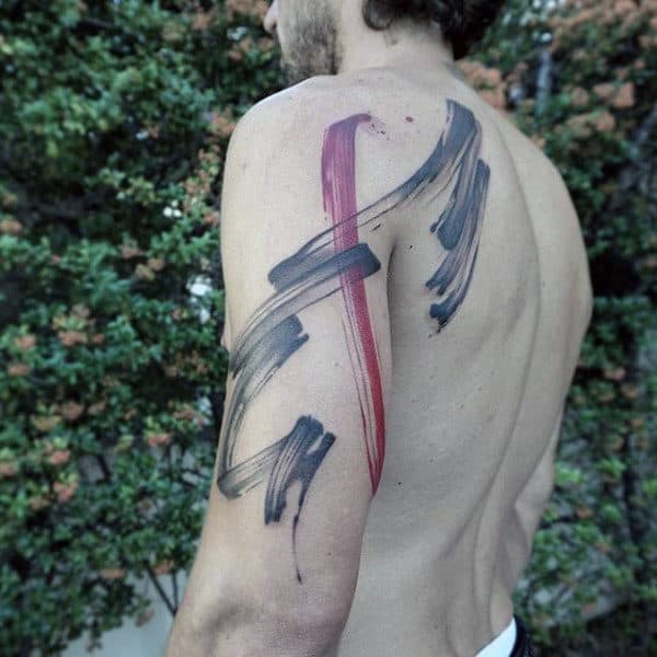 Abstract Guys Brush Stroke Arm And Shoulder Tattoos