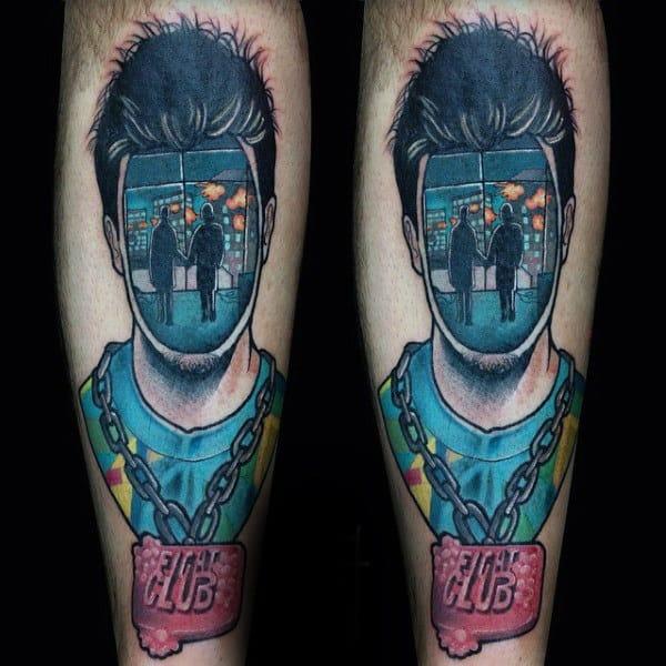 Abstract Guys Fight Club Leg Tattoo Ideas