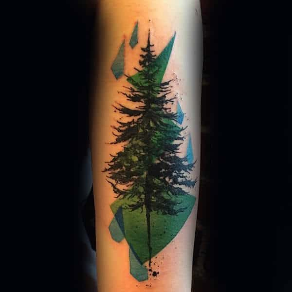 Abstract Guys Forearm Tree Tattoos