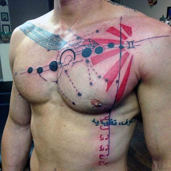 Abstract Guys Gemini Constellation Tattoo On Chest