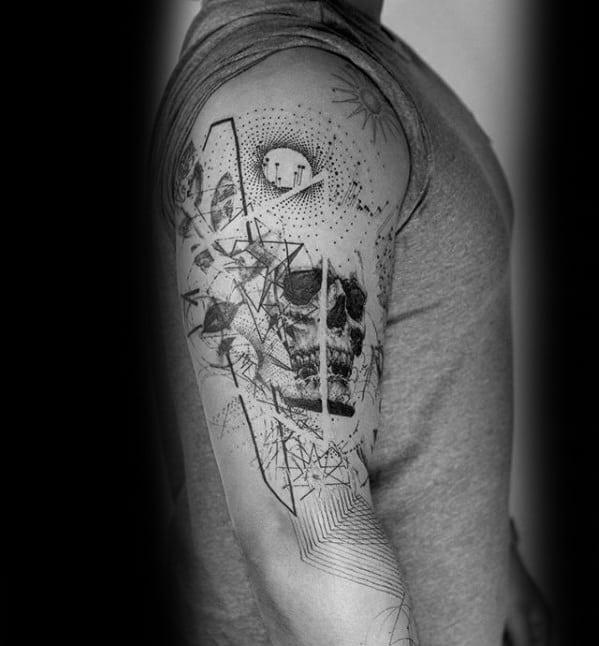 Abstract Guys Geometric Arm Tattoo Design Ideas