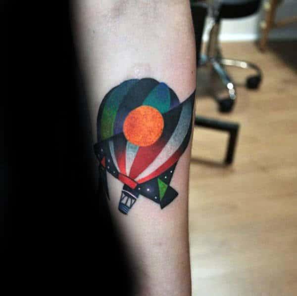 Abstract Guys Hot Air Balloon Inner Forearm Tattoo
