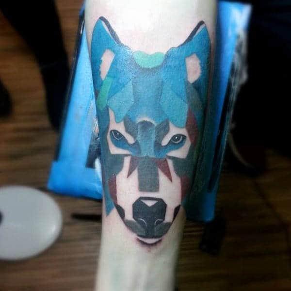 Abstract Guys Husky Dog Tattoo