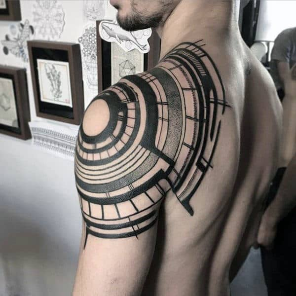 Abstract Guys Shoulder Arm Tattoos With Tribal Design