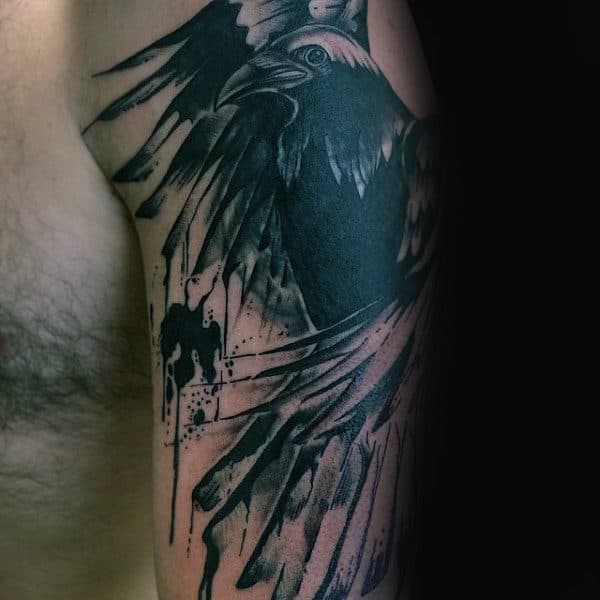 Abstract Guys Watercolor Black Crow Tattoo On Arm