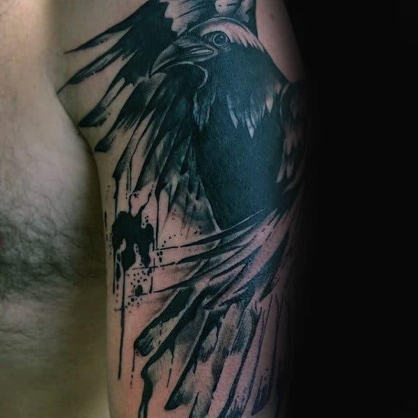 100 crow tattoo designs for men black bird ink ideas. Black Bedroom Furniture Sets. Home Design Ideas