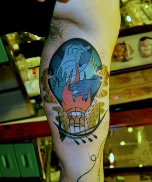 Abstract Hands Hot Air Balloon Mens Bicep Tattoo