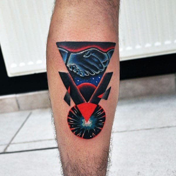 Abstract Handshake Mens Amazing Leg Calf Tattoos