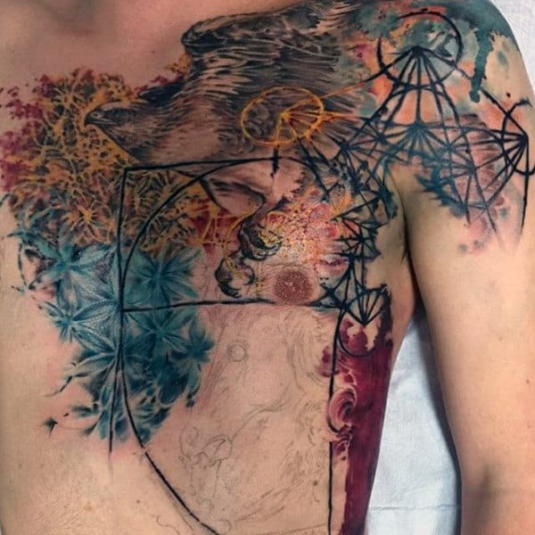 Abstract Hawk And Pentagram Tattoo For Men On Chest