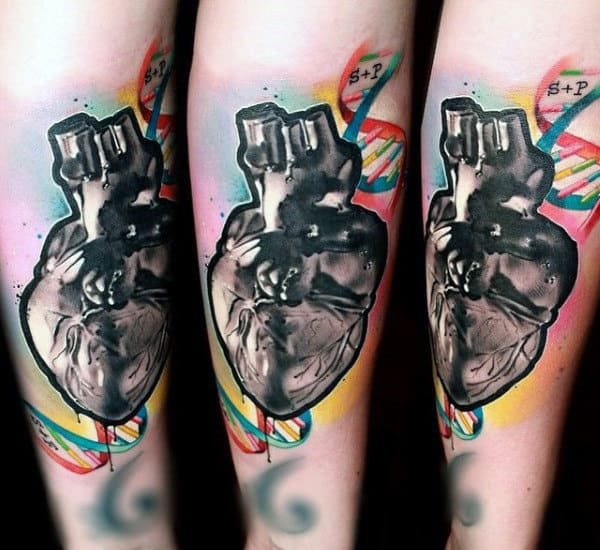 Abstract Heart Tattoo On Mans Forearm With Double Helix Dna