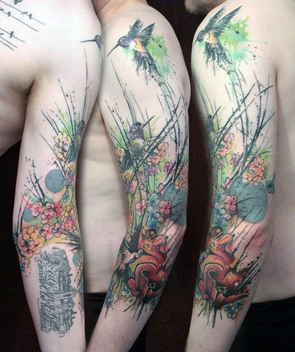 Abstract Hummingbird Watercolor Mens Arm Tattoos