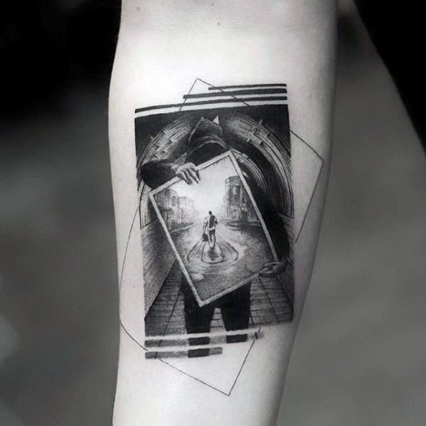 Abstract Inner Forearm 3d Great Mens Tattoo Ideas
