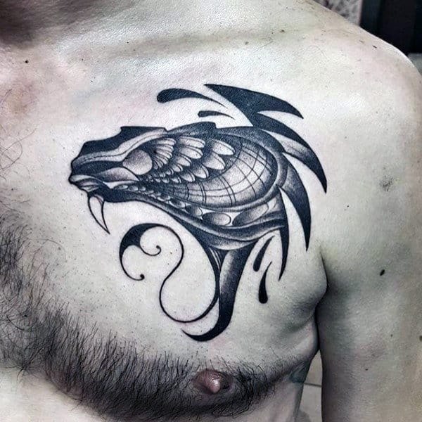 Abstract Insane Hawk Tattoo For Men On Upper Chest