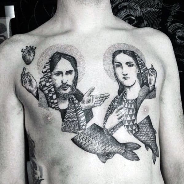 Abstract Jesus And Mary Guys Chest Tattoos