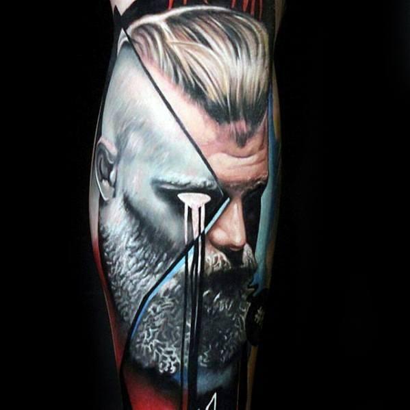 Abstract Leg Sleeve Male Cool Ragnar Tattoo Ideas