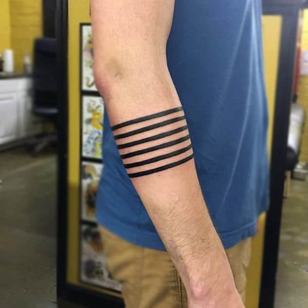 Abstract Lines Black Armband Tattoo For Guys