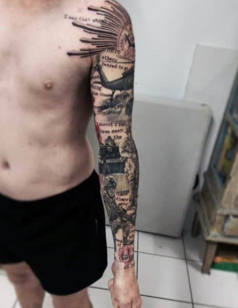 Abstract Male Army Full Sleeve Tatto Design Inspiration
