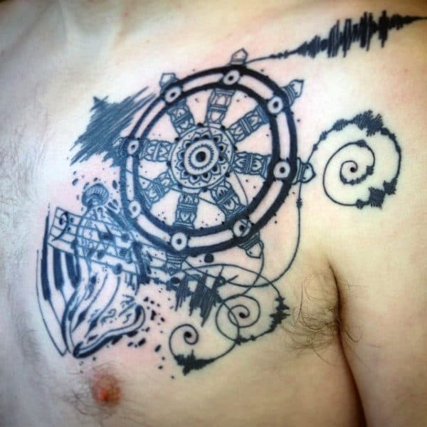 Abstract Male Dharma Wheel Chest Tattoos