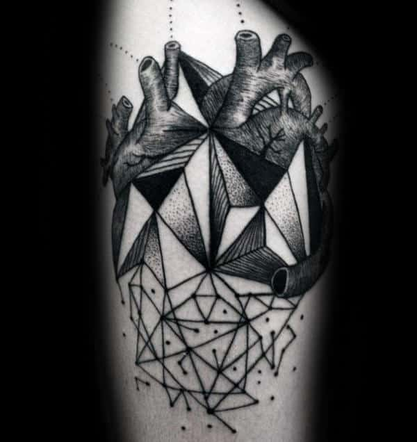 Abstract Male Geometric Heart Artistic Thigh Tattoos