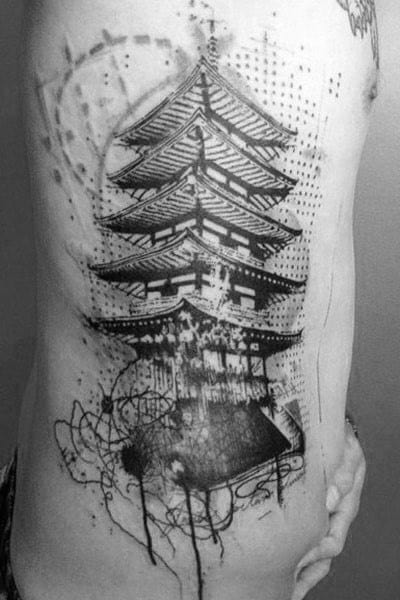 Abstract Male Japanese Building Ribs Tattoos