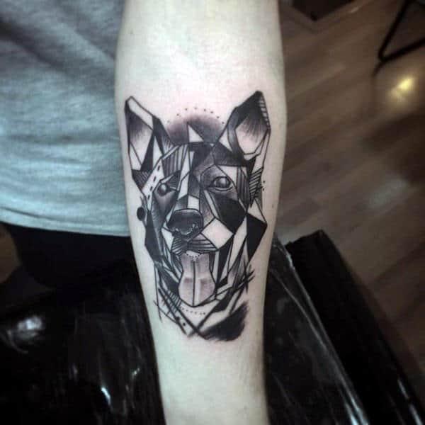 Abstract Male Tattoo Of Geometric Dog Design
