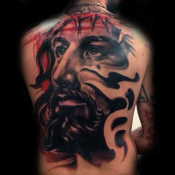 Abstract Mens 3d Jesus Back Tattoos