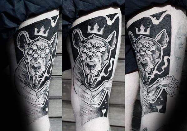 Abstract Mens Artistic Rat With Crown Thigh Tattoos