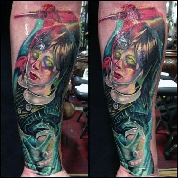 Abstract Mens Bioshock Leg Tattoo Designs