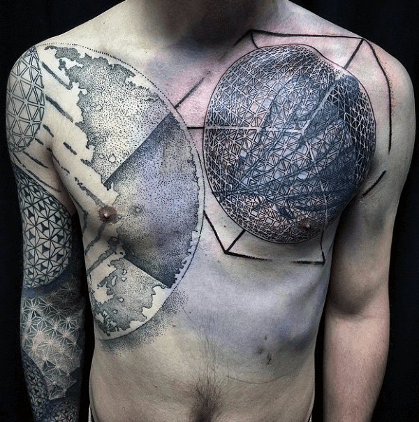 Abstract Mens Blackwork Tattoo On Chest With Full Sleeve