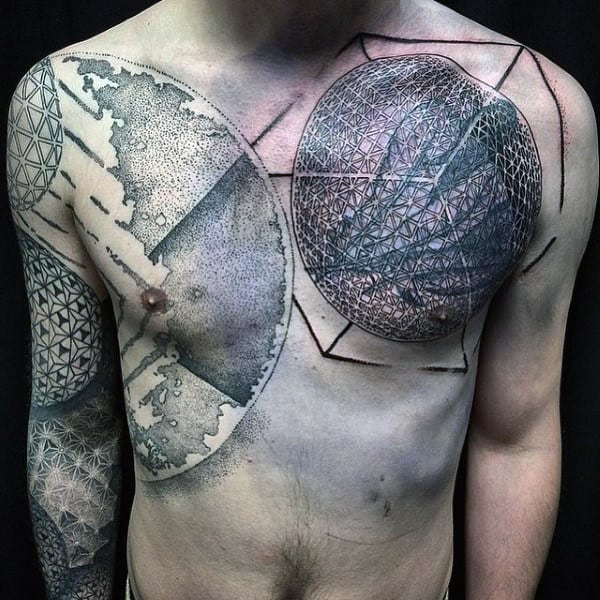 Abstract Mens Chest And Arms Unique Tattoo
