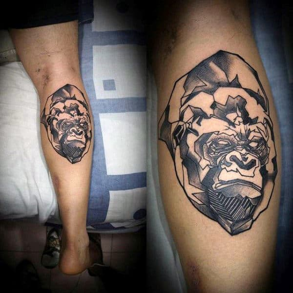 Abstract Mens Gorilla Face Tattoo On Back Of Leg Calf