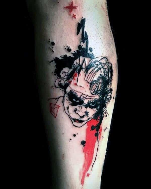 Abstract Mens Joker Trash Polka Leg Tattoos