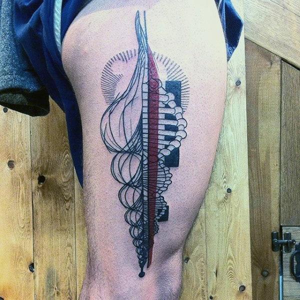 Abstract Mens Leg Thigh Tattoo Design Ideas