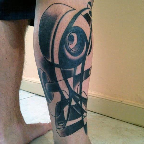 Abstract Mens Skateboard Trucks With Wheels Leg Sleeve Tattoo