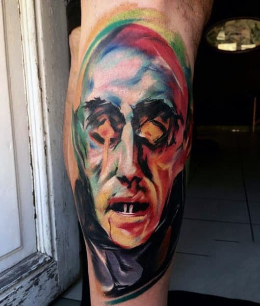 Abstract Mens Vampire Tattoo In Full Color On Leg