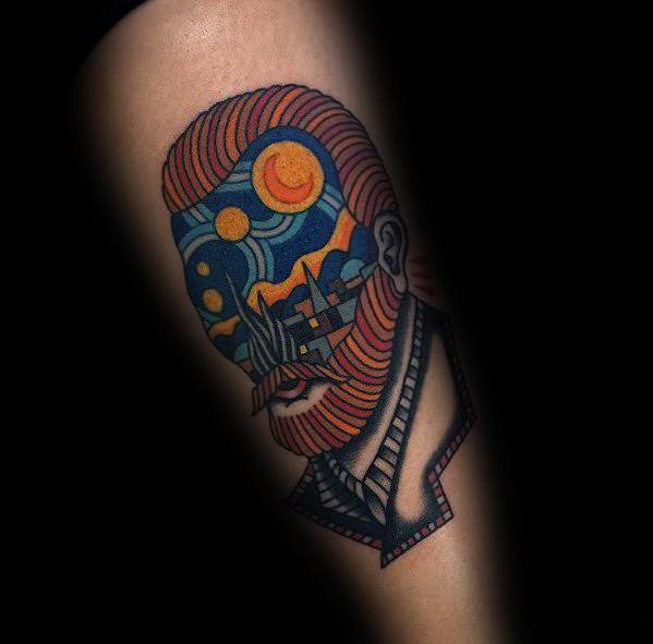 Abstract Mens Vincent Van Gogh Forearm Tattoo