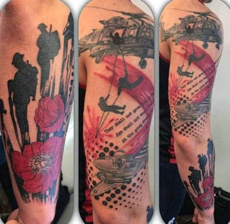 Abstract Military World War I Poppy Tattoo Sleeve