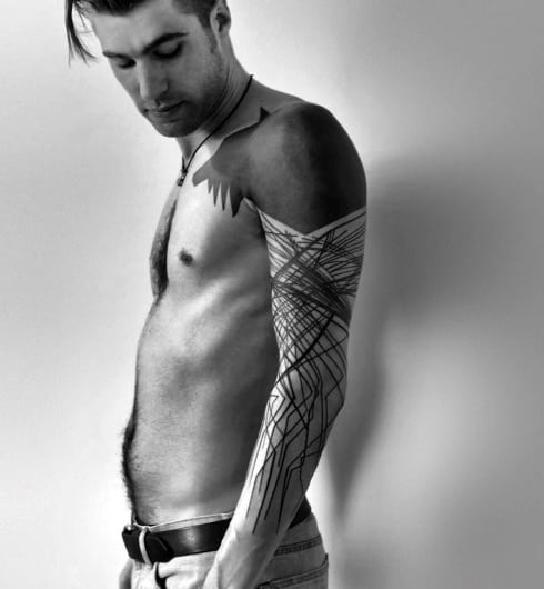 Abstract Minimalists Line Tattoos For Males