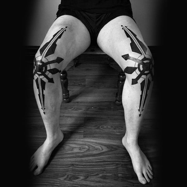 Abstract Modern Blackwork Knee Mens Tattoo