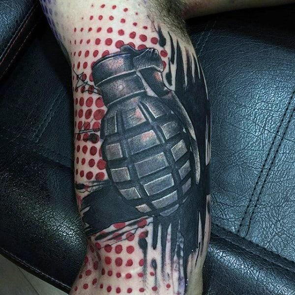 Abstract Modern Modern Grenade Tattoo For Men